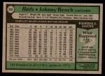 1979 Topps #200  Johnny Bench  Back Thumbnail