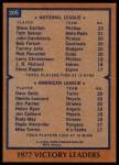 1978 Topps #205   -  Steve Carlton / Jim Palmer / Dave Goltz / Dennis Leonard Victory Leaders   Back Thumbnail