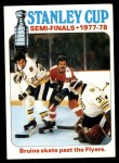 1978 Topps #263   Stanley Cup Semi-finals - Bruins Skate Past the Flyers Front Thumbnail