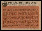 1962 Topps #127 GRN  -  Norm Siebern / Hank Bauer / Jerry Lumpe Pride of the A's Back Thumbnail