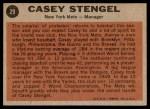 1962 Topps #29  Casey Stengel  Back Thumbnail