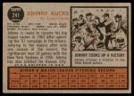 1962 Topps #241  Johnny Kucks  Back Thumbnail