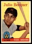 1958 Topps #458  Julio Becquer  Front Thumbnail