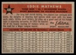 1958 Topps #480   -  Eddie Mathews All-Star Back Thumbnail