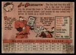 1958 Topps #129  Jim Derrington  Back Thumbnail