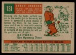 1959 Topps #131  Deron Johnson  Back Thumbnail
