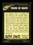 1964 Topps / Bubbles Inc Outer Limits #40   The Touch of Death  Back Thumbnail