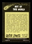1964 Topps / Bubbles Inc Outer Limits #17   Not of this World  Back Thumbnail