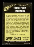 1964 Topps / Bubbles Inc Outer Limits #25   Thing From Mercury Back Thumbnail