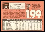 1969 Topps #601  Tug McGraw  Back Thumbnail