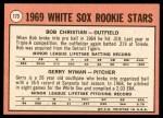 1969 Topps #173   -  Bob Christian / Gerry Nyman White Sox Rookies   Back Thumbnail