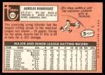 1969 Topps #653  Aurelio Rodriguez  Back Thumbnail