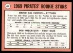 1969 Topps #468 WN  -  Bob Robertson / Del Canton Pirates Rookies Back Thumbnail
