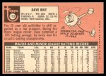 1969 Topps #113  Dave May  Back Thumbnail