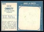 1961 Topps #184  Dick Christy  Back Thumbnail