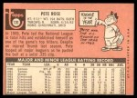1969 Topps #120  Pete Rose  Back Thumbnail