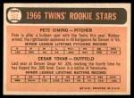 1966 Topps #563   -  Cesar Tovar / Pete Cimino Twins Rookies Back Thumbnail
