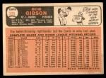 1966 Topps #320  Bob Gibson  Back Thumbnail
