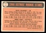 1966 Topps #596   -  Nate Colbert / Greg Sims Astros Rookies Back Thumbnail