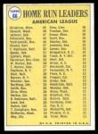 1970 Topps #66   -  Reggie Jackson / Harmon Killebrew / Frank Howard AL HR Leaders Back Thumbnail