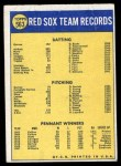 1970 Topps #563   Red Sox Team Back Thumbnail