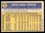 1970 Topps #125  Deron Johnson  Back Thumbnail