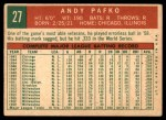 1959 Topps #27  Andy Pafko  Back Thumbnail