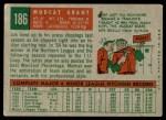 1959 Topps #186  Jim Mudcat Grant  Back Thumbnail