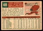 1959 Topps #409  Gus Zernial  Back Thumbnail