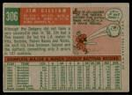 1959 Topps #306  Jim Gilliam  Back Thumbnail