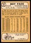 1968 Topps #198  Roy Face  Back Thumbnail