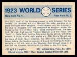 1970 Fleer World Series #20   -  Babe Ruth 1923 Yankees vs. Giants   Back Thumbnail