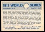 1970 Fleer World Series #10   1913 A's vs. Giants Back Thumbnail