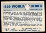 1970 Fleer World Series #47   1950 Yankees vs. Phillies Back Thumbnail