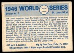1970 Fleer World Series #43   -  Enos Slaughter 1946 Cardinals vs. Red Sox   Back Thumbnail