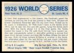 1970 Fleer World Series #23   -  Grover Alexander 1926 Cardinals vs. Yankees   Back Thumbnail