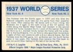 1970 Fleer World Series #34   -  Carl Hubbell 1937 Yankees vs. Giants   Back Thumbnail