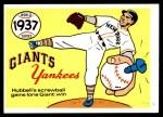 1970 Fleer World Series #34   -  Carl Hubbell 1937 Yankees vs. Giants   Front Thumbnail