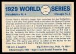 1970 Fleer World Series #26   1929 A's vs. Cubs Back Thumbnail