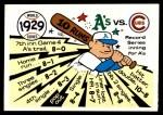 1970 Fleer World Series #26   1929 A's vs. Cubs Front Thumbnail