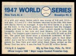 1970 Fleer World Series #44   -  Al Gionfriddo 1947 Yankees vs. Dodgers   Back Thumbnail