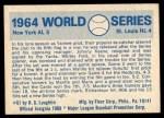 1970 Fleer World Series #61   -  Bobby Richardson 1964 Cardinals vs. Yankees   Back Thumbnail