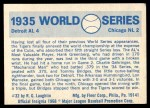 1970 Fleer World Series #32   -  Charlie Gehringer 1935 Tigers vs. Cubs   Back Thumbnail