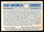 1970 Fleer World Series #58   -  Whitey Ford 1961 Yankees vs. Reds   Back Thumbnail
