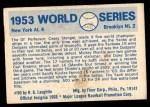 1970 Fleer World Series #50   -  Carl Erskine 1953 Yankees vs. Dodgers   Back Thumbnail