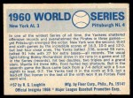 1970 Fleer World Series #57   1960 Pirates vs. Yankees Back Thumbnail