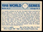 1970 Fleer World Series #15   1918 Red Sox vs. Cubs Back Thumbnail