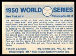 1970 Fleer World Series #47   1950 Yankees vs. Phillies Back Thumbnail