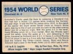 1970 Fleer World Series #51   -  Johnny Antonelli 1954 Giants vs. Indians   Back Thumbnail