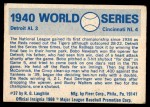 1970 Fleer World Series #37   1940 Reds vs. Tigers Back Thumbnail